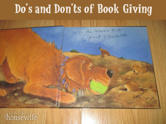 Do's and Don'ts of Book Giving at The Happy Housewife