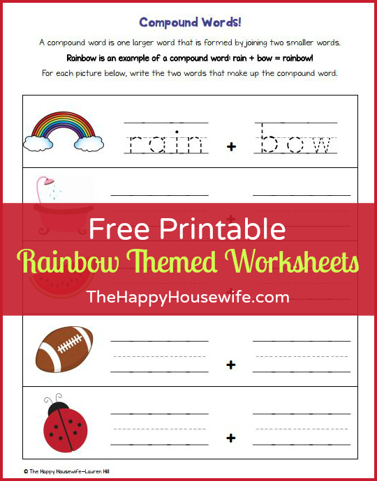 Free Printable Rainbow Themed Worksheets at The Happy Housewife