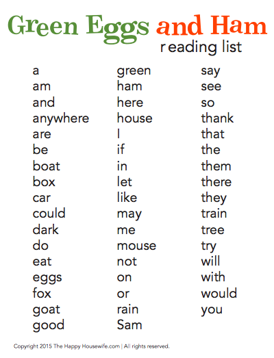 Green Eggs and Ham Word List