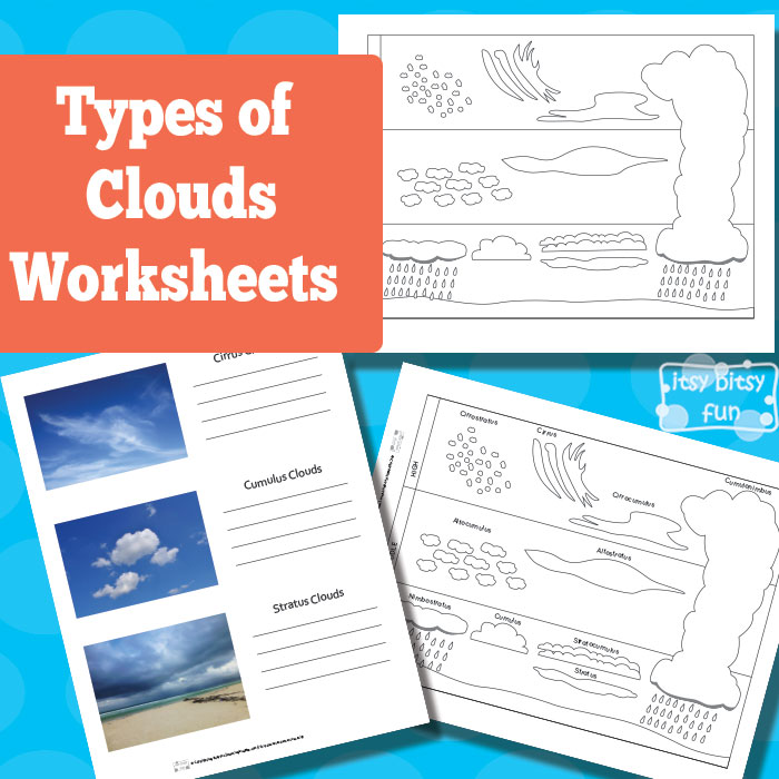 This is an image of Universal Types of Clouds Worksheet Printable