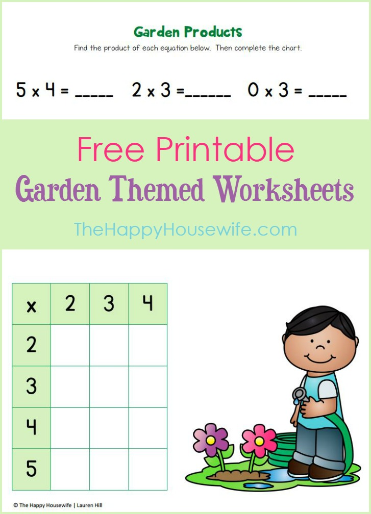 Free printable garden-themed worksheets for 2nd graders from The Happy Housewife