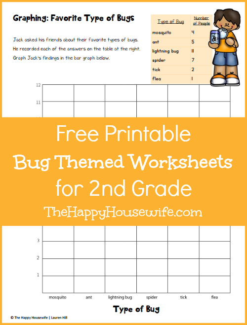 Free Printable Bug Themed Worksheets for 2nd Grade at The Happy Housewife