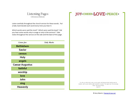 christmas listening pages Free Printable Christmas Listening Pages