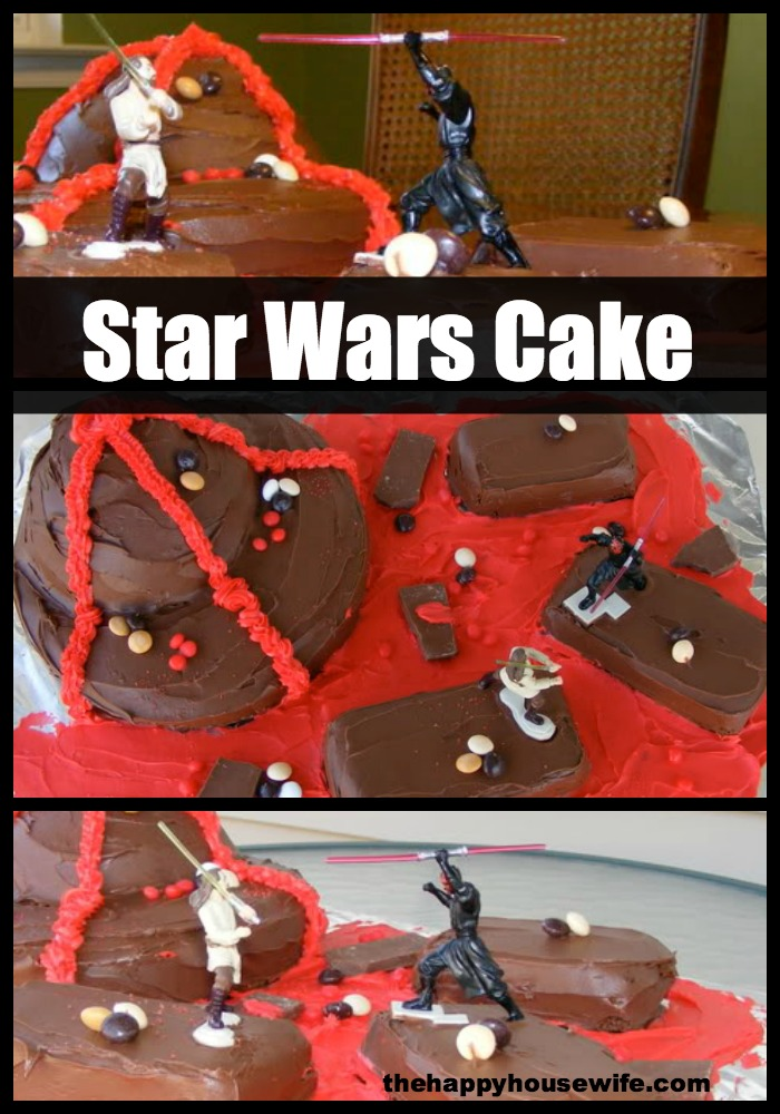 This Star Wars cake is so easy to make, using canned frosting and pans you already have in your house.