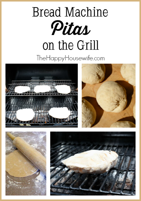Bread Machine Pitas on the Grill at The Happy Housewife