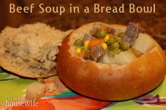 Beef Soup in a Bread Bowl at The Happy Housewife
