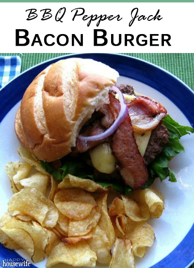 BBQ Pepper Jack Bacon Burgers | The Happy Housewife