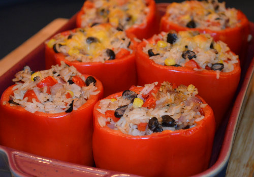Rice and Beans Stuffed Peppers