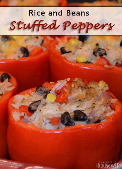 RIce and Beans Stuffed Peppers | The Happy Housewife