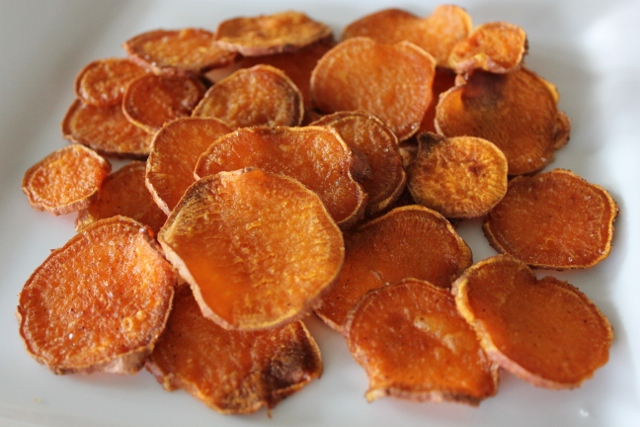 Homemade Baked Sweet Potato Chips at The Happy Housewife