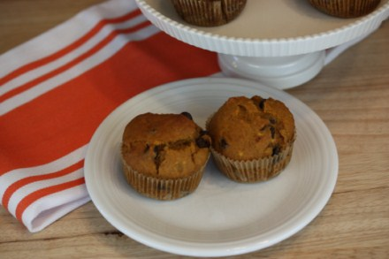 Chocolate Honey Pumpkin Muffins at The Happy Housewife