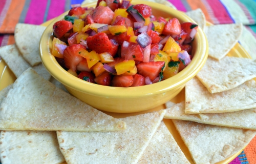 Strawberry Salsa and homemade cinnamon tortilla chips