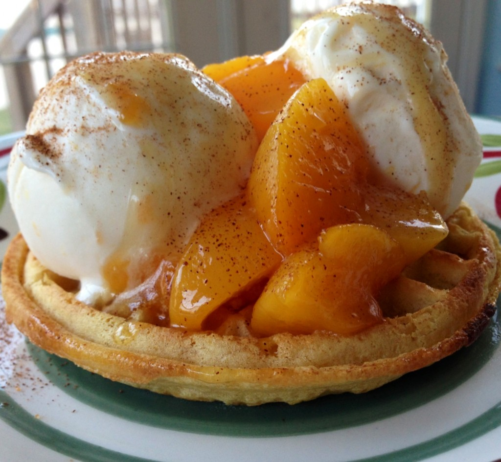 Fried Peaches and Cream on a Waffle at The Happy Housewife