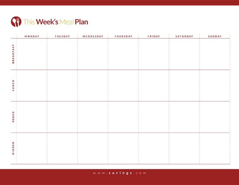 Free Printable: Weekly Meal Plan With Breakfast, Lunch, Dinner And Snacks  From The