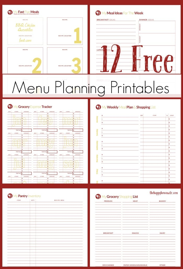 free menu plan printables