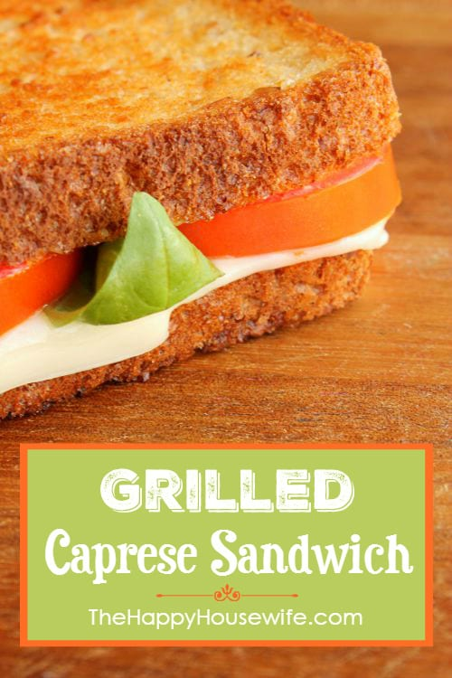 This grilled Caprese sandwich takes the perfect flavor combination of mozzarella, basil and tomatoes and nestles it between two delicious slices of bread. Found at The Happy Housewife