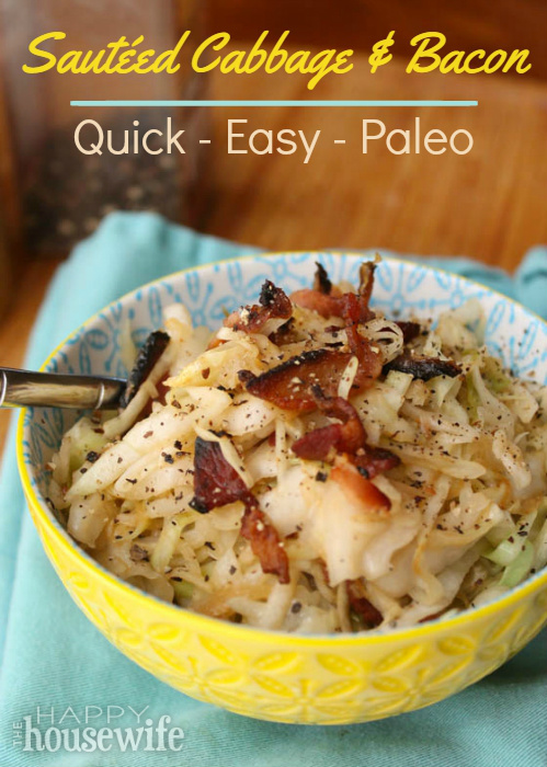 Sauteed cabbage and bacon quick and easy the happy housewife this quick and easy paleo sauted cabbage and bacon is a drool worthy side dish forumfinder Image collections