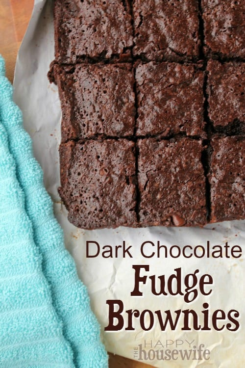 These Dark Chocolate Fudge Brownies are a hit time after time. The edges are as soft and fudgy as the center. We've even had them in place of birthday cake.
