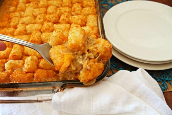 If you're feeding a large family or a small army, this delicious Cheesy Tater Tot Casserole is sure to please Even your meat-and-potatoes hubby will love it!