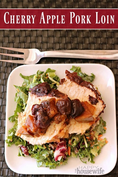 Smothered in fresh cherries and apples and dusted with cinnamon, your whole family will adore this Slow Cooker Cherry Apple Pork Loin.
