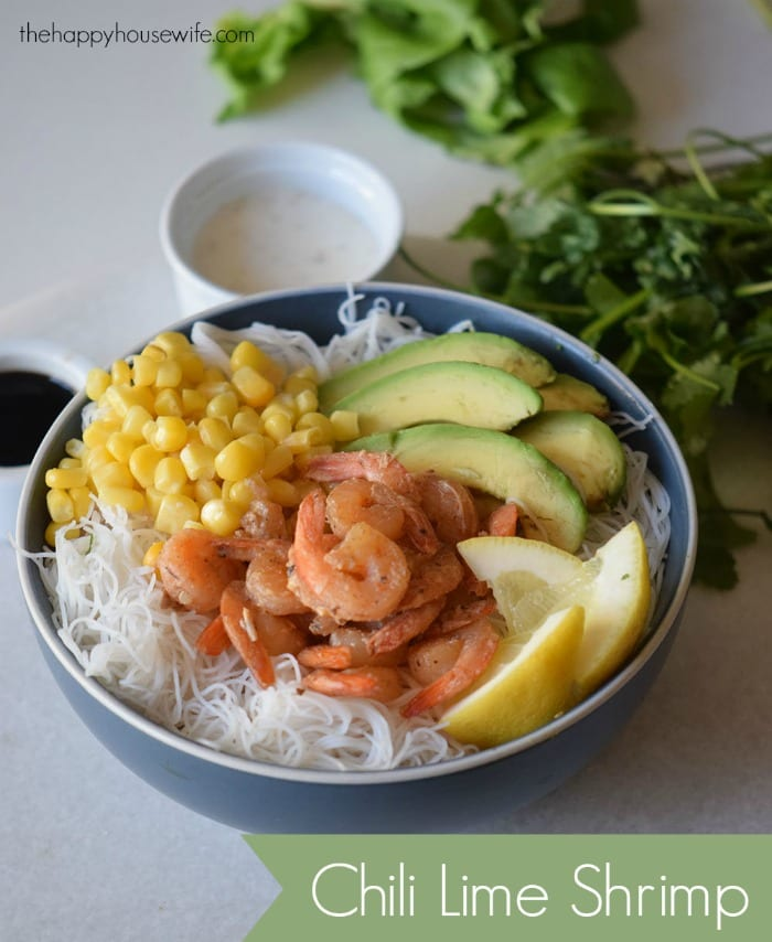 If you love shrimp, you'll want to try this recipe for Chili Lime Shrimp served over a bed of rice noodles along with corn and avocado.