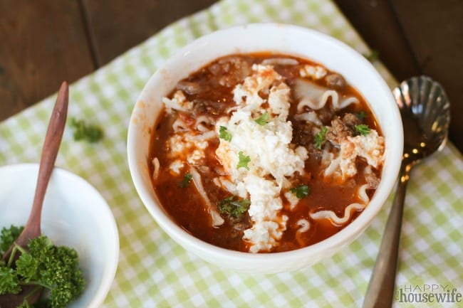 This lasagna soup is filled with delicious lasagna flavors but doesn't require all the assembly time that the casserole does. It can easily be made gluten free.