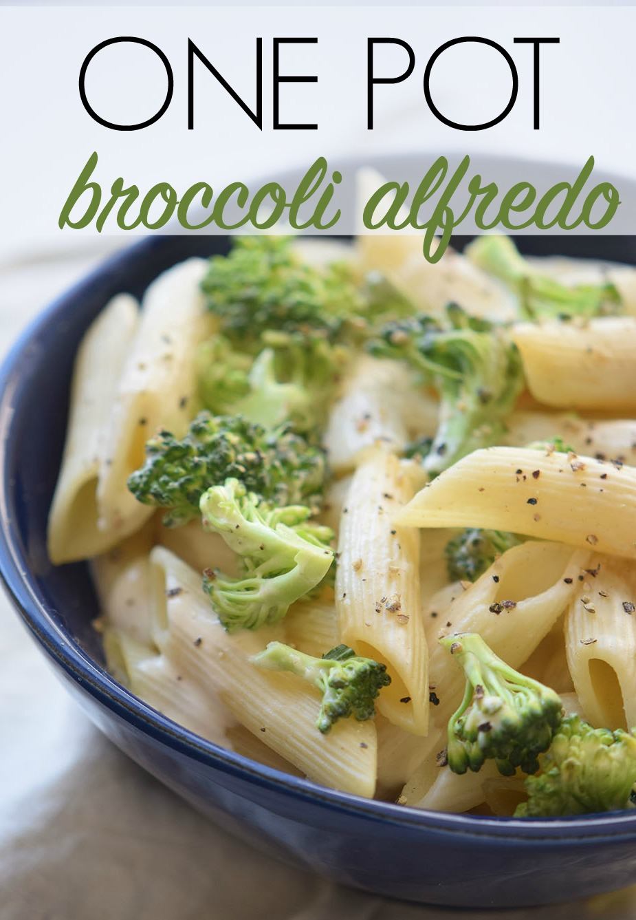 This One Pot Broccoli Alfredo Pasta is an easy, creamy stove top dish that's perfect for a busy weeknight. Serve it as a delicious side dish or a vegetarian main dish.