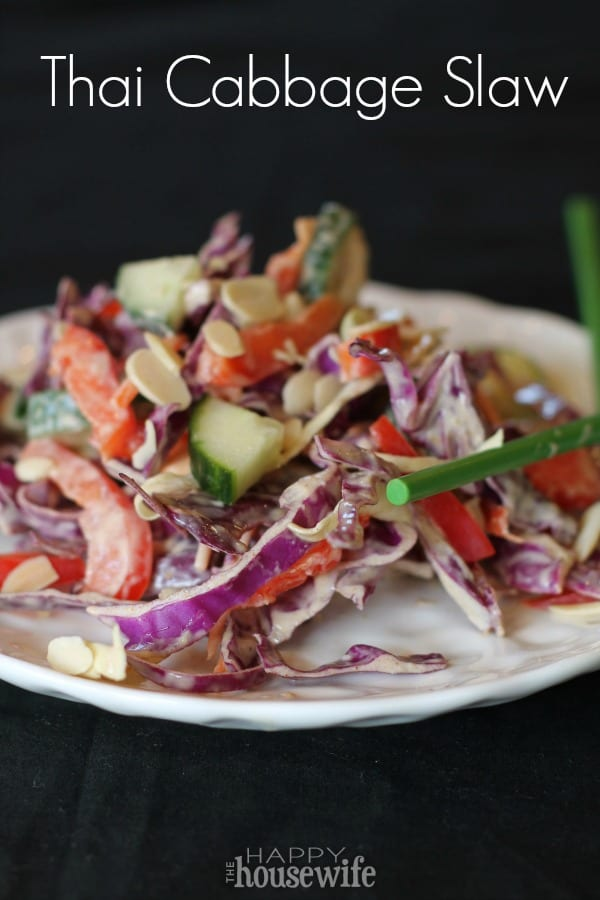 Crunchy and satisfying, this flavorful Thai Cabbage Slaw will brighten any warm weather meal! It's also great topped with grilled chicken or fried fish.