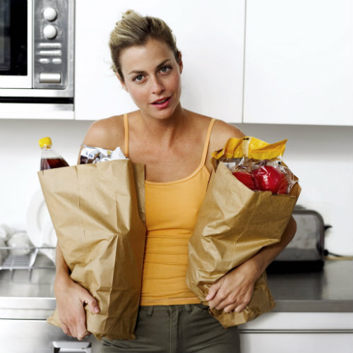 woman with groceries