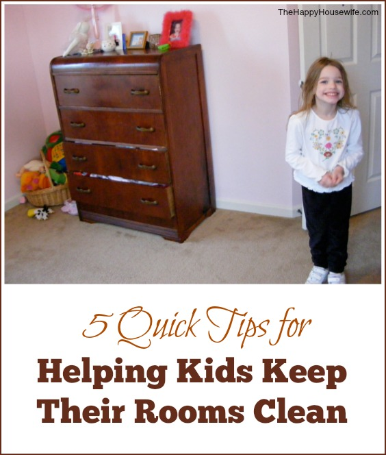 5 Quick Tips for Helping Kids Keep Their Rooms Clean from The Happy Housewife