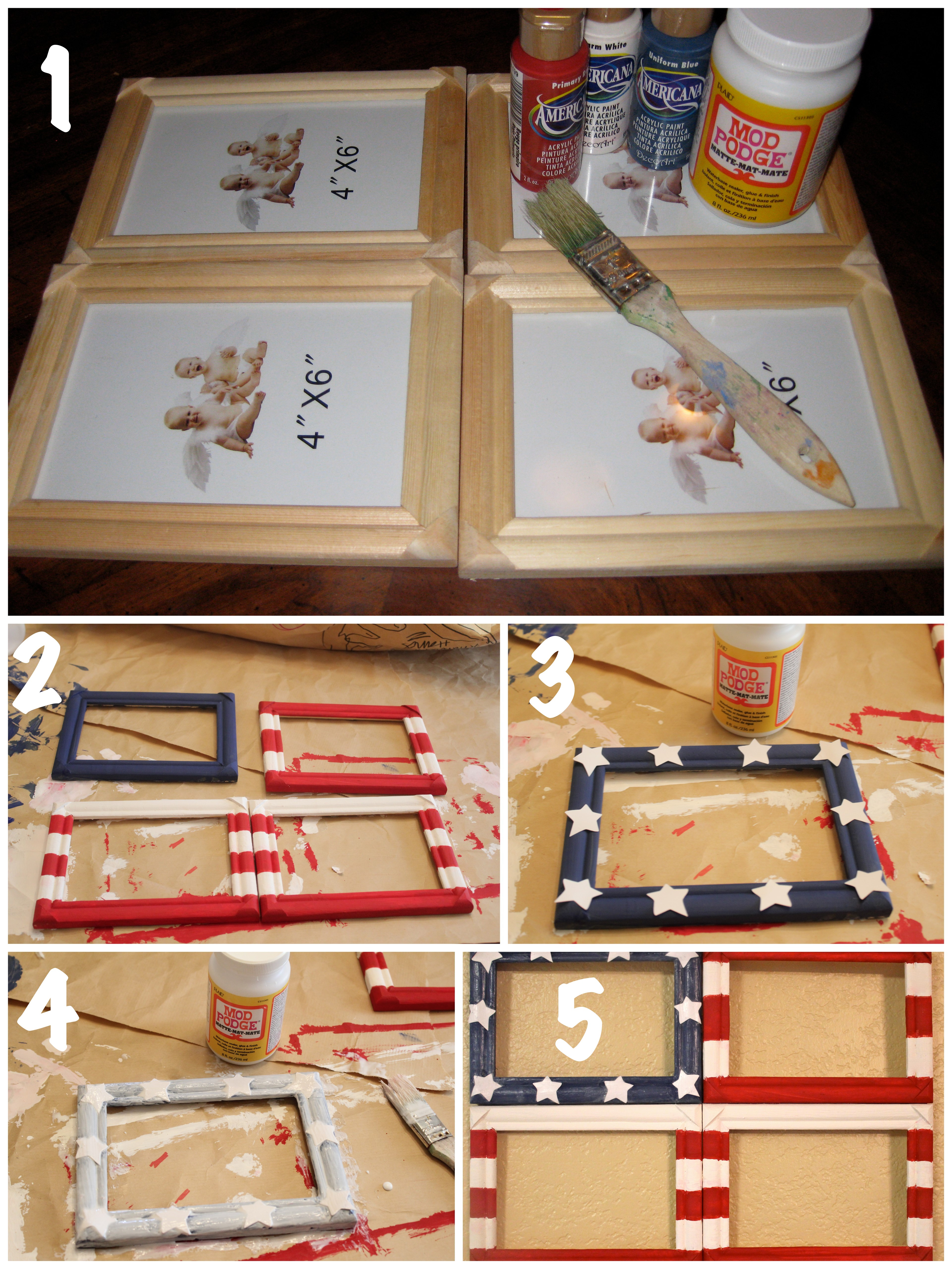 Diy Flag Photo Collage Frame The Happy Housewife