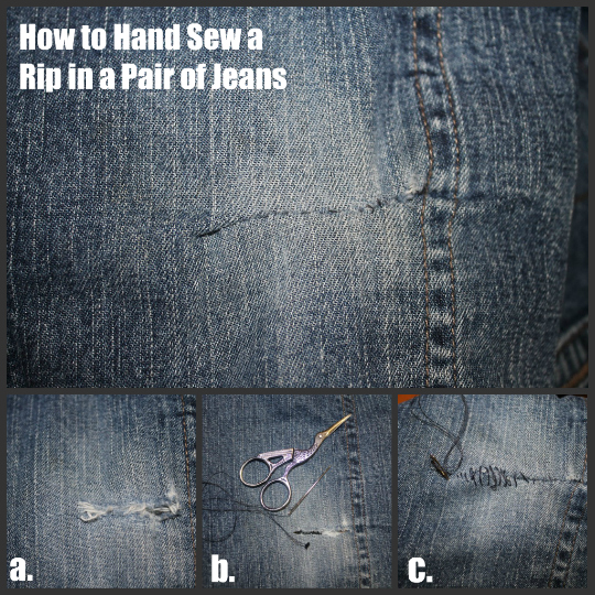 How To Fix Holes In Blue Jeans The Happy Housewife™ Home Management Cool How To Patch Jeans Without A Sewing Machine
