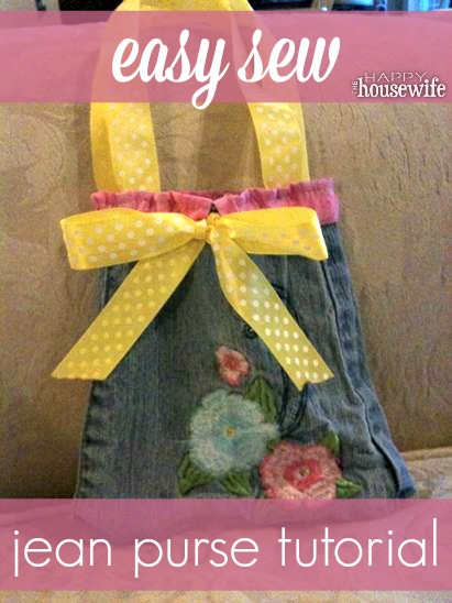 DIY blue jean purse tutorial. Don't throw away those ripped jeans, recycle them and make a cute purse!