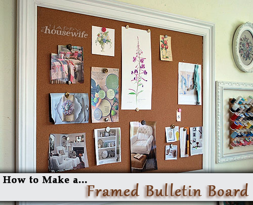 How to make a framed bulletin board the happy housewife for Kitchen cork board ideas