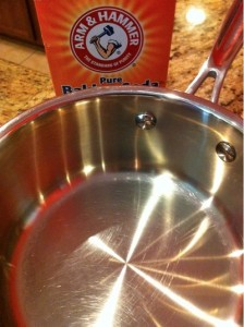 Using Arm Amp Hammer Baking Soda To Clean Pots And Pans
