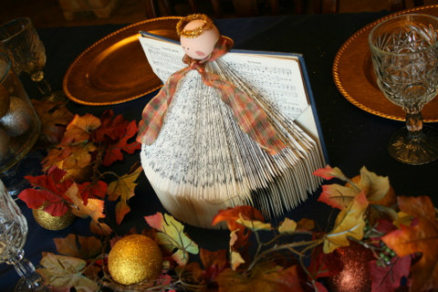 Use an old hymnal and a few craft items to make this adorable hymnal angel decoration found at The Happy Housewife