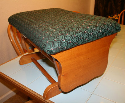 Before photo of ottoman makeover