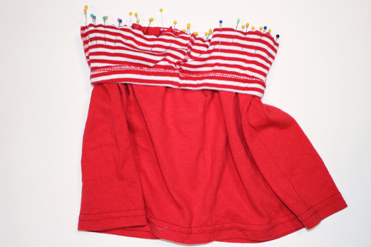 Toddler Skirt from Pants and T-Shirt (step 7) | The Happy Housewife
