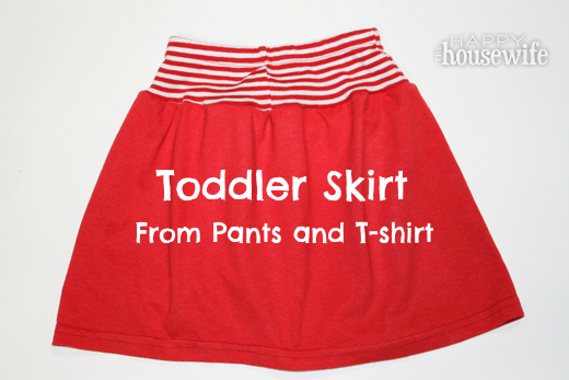 Toddler Skirt from Pants and T-Shirt | The Happy Housewife