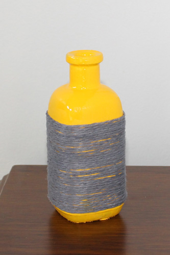 Yarn Wrapped Bottles (partially wrapped) | The Happy Housewife