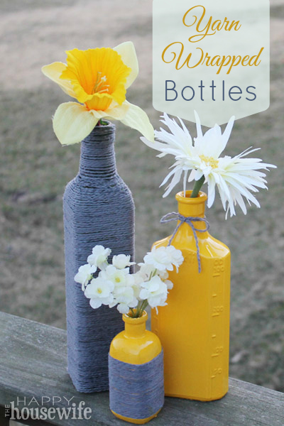 Yarn Wrapped Bottles | The Happy Housewife