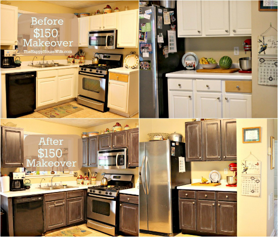 Frugal kitchen cabinet makeover the happy housewife for Before after kitchen makeovers