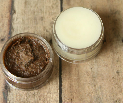 Homemade Peppermint Mocha Lip Scrub and Lip Balm at The Happy Housewife