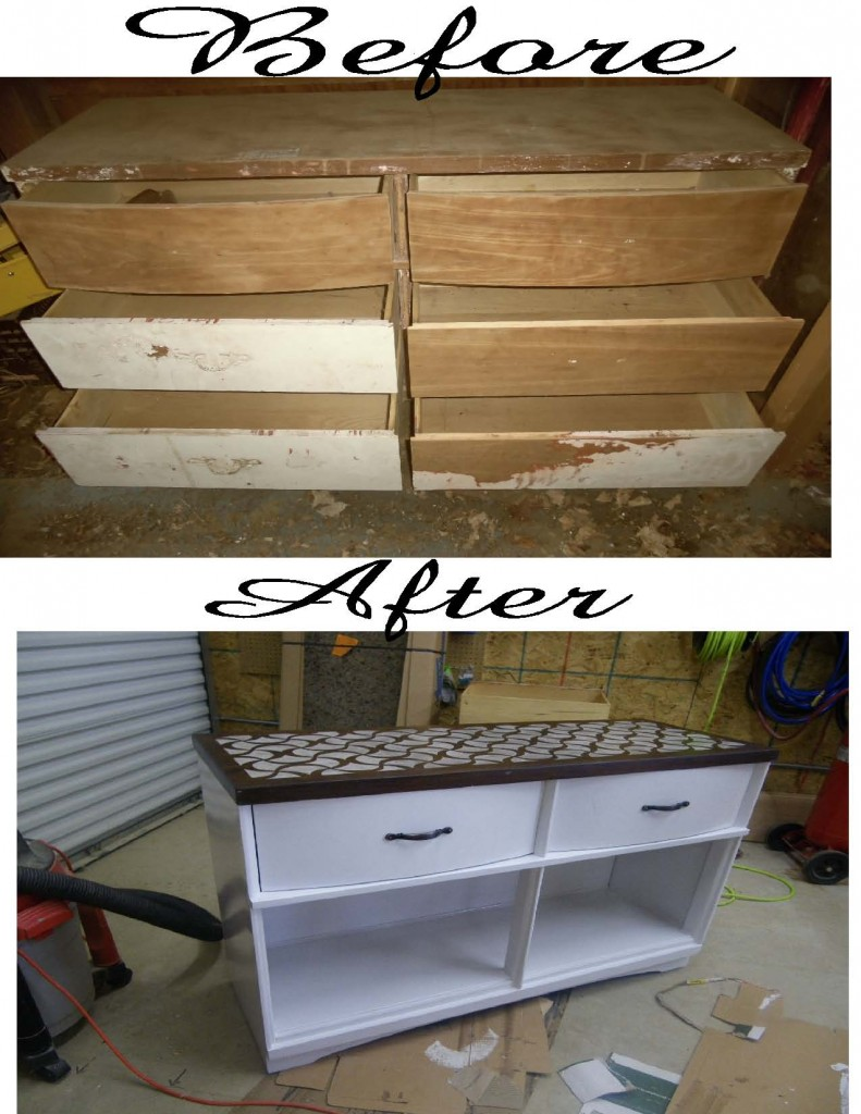 Dresser to buffet stenciled top