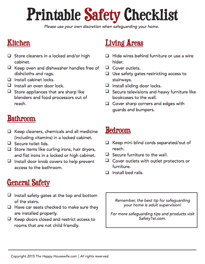 Printable home safety checklist the happy housewife for Safety around the house
