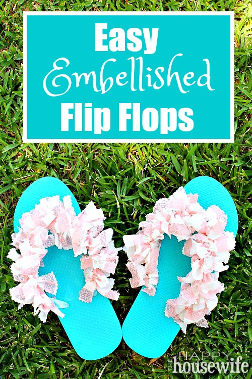 These Easy Embellished Flip Flops are crazy simple to do. I made these from beginning to end in less than an hour, and they cost under $5! It's a great craft for kids too.