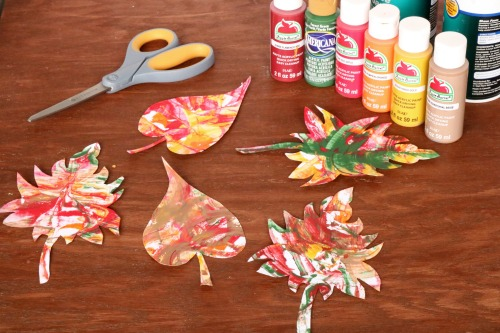 Shaving Cream Paint Fall Leaves - finished