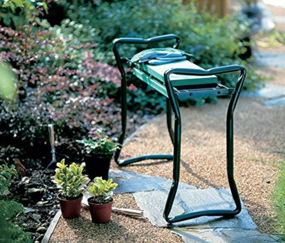foldable gardening seat so you don't have backaches after working in the yard