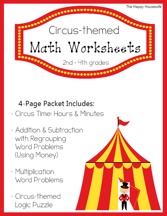 Circus themed math worksheets free printables the happy for Circus printables
