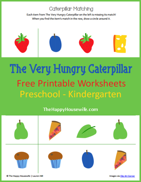 The Very Hungry Caterpillar Worksheets: Free Printables | The Happy Housewife